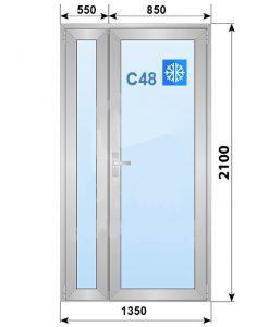 Алюминиевая дверь, Alutech C48, классическая 1350х2100 мм