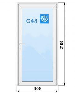 Алюминиевая дверь, Alutech C48, классическая 900х2100мм