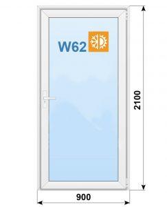 Алюминиевая дверь,Alutech W62, классическая 900х2100мм
