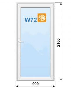 Алюминиевая дверь,Alutech W72, классическая 900х2100мм